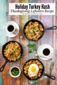Thanksgiving leftover turkey hash in skillets title