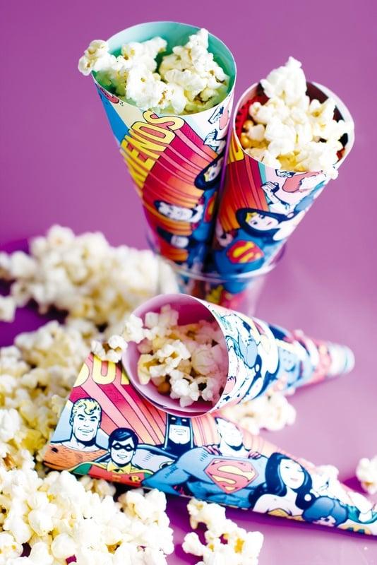 Recycled Comic Book Treat Cones {The Official DC Super Hero Cookbook} - BoulderLocavore.com