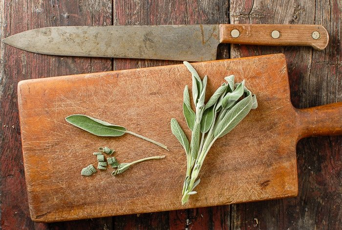 fresh Sage on cutting board
