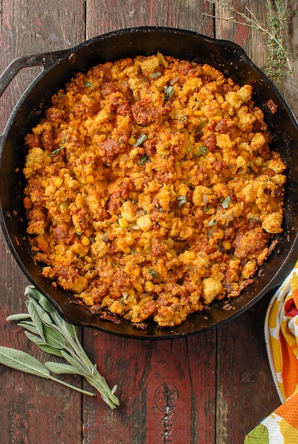 Spicy Chorizo Sage Cornbread Dressing in a cast iron skillet
