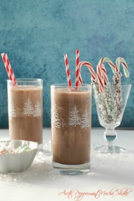 Arctic Peppermint Mocha Shake  with striped straws