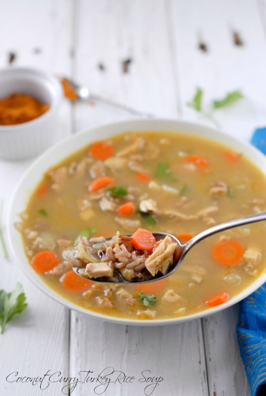 Coconut Curry Turkey Rice Soup spoonful - BoulderLocavore.com