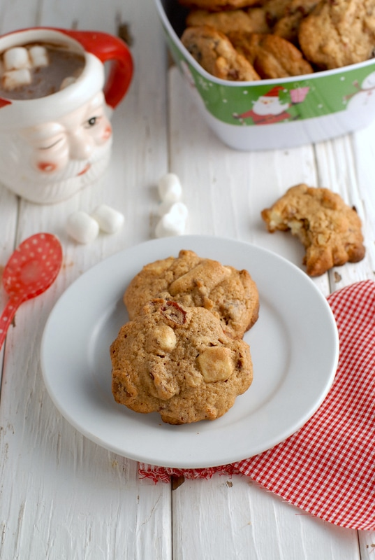 Cranberry White Chocolate Pecan Cookies on a white plate