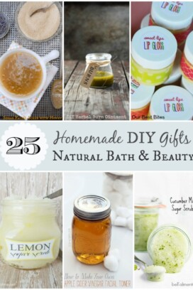 collage of homemade bath products
