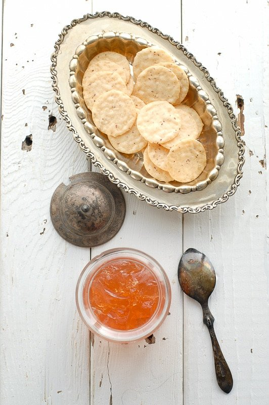 Homemade Pink Champagne Jelly recipe with nut crackers - BoulderLocavore.com