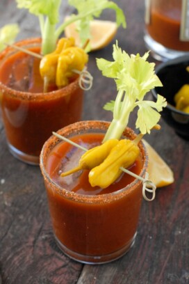 Motherlode Bloody Marys with celery