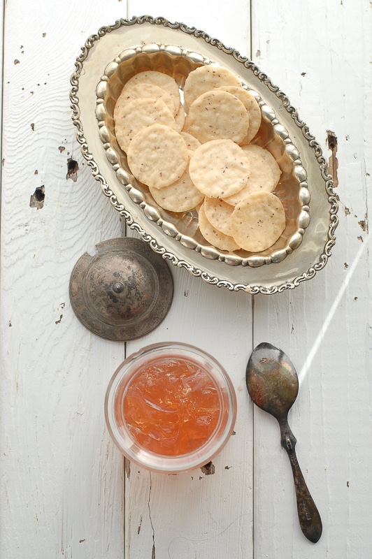Pink Champagne Jelly & nut crackers  - BoulderLocavore.com