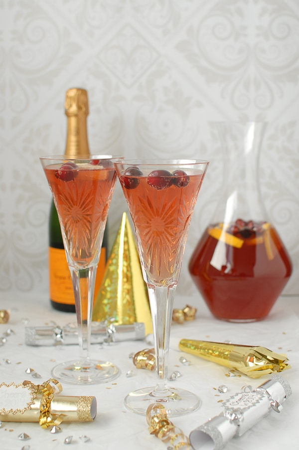 Sparkling Cranberry-Orange Champagne Punch - BoulderLocavore.com #cocktail
