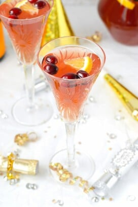 Sparkling Cranberry-Orange Champagne Punch from overhead