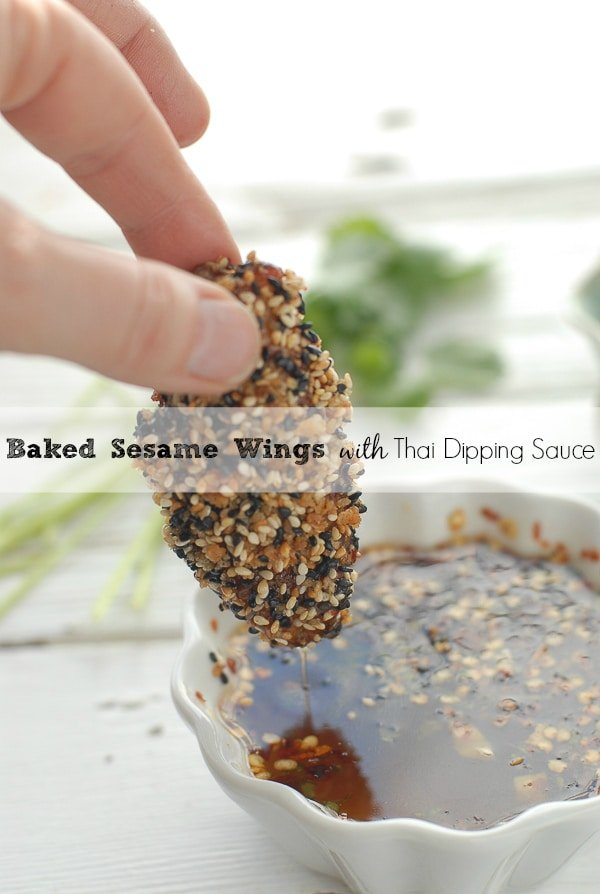 Baked Sesame Wings with Thai Dipping Sauce