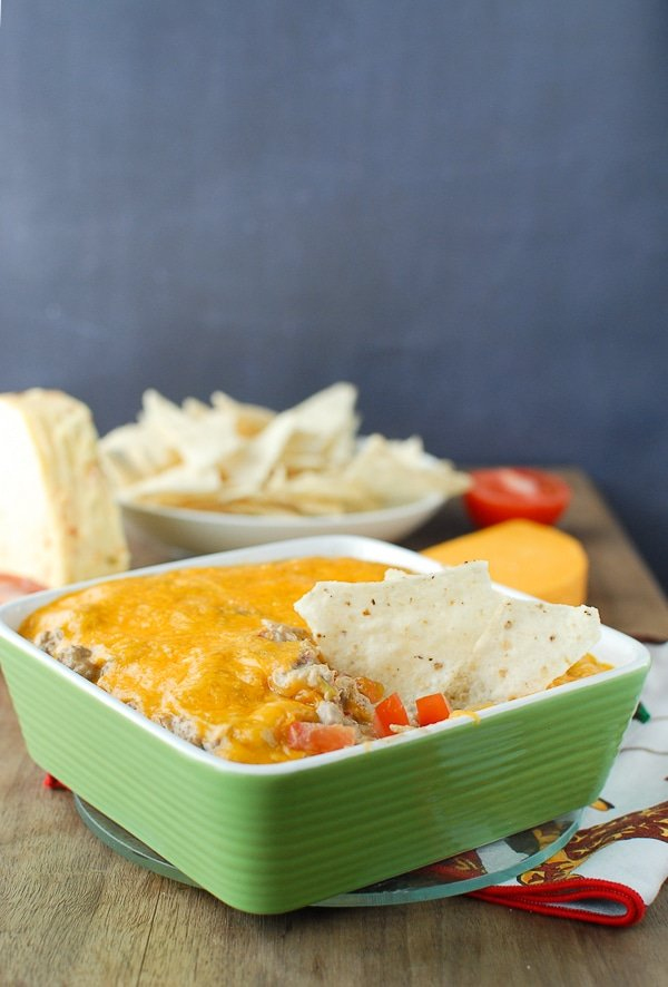Green Chile Bacon Cheesburger Dip with chips