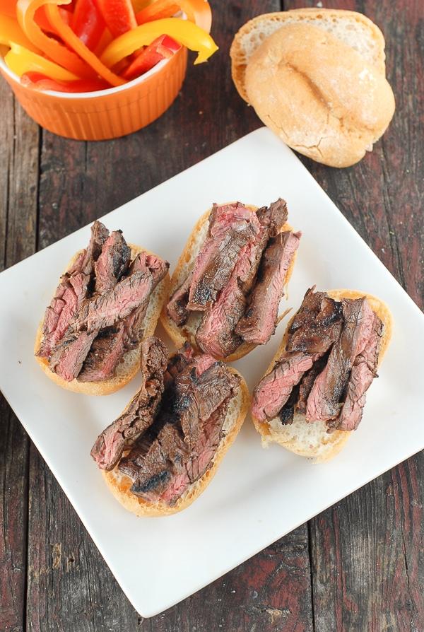 Grilled Skirt Steak Sliders on white plate