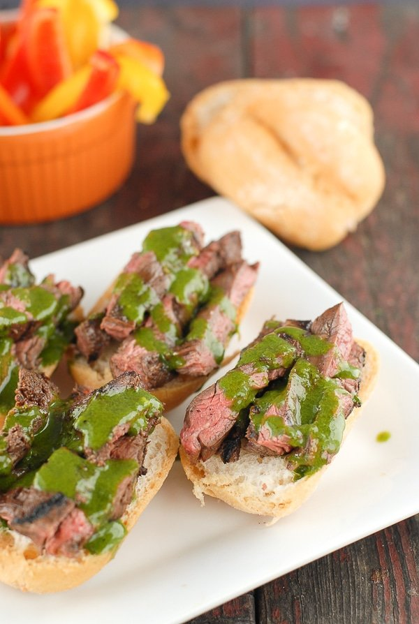 Grilled Skirt Steak Sliders with Salsa Verde Aoili on steak