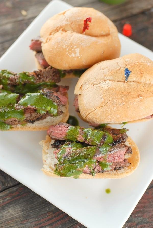 Grilled Skirt Steak Sliders with Salsa Verde Aoili on white plate