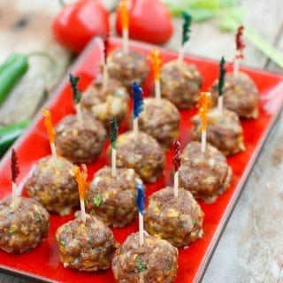 Mini Taco Meatballs With toothpicks