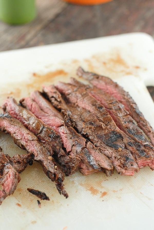 Sliced Skirt Steak on cutting board
