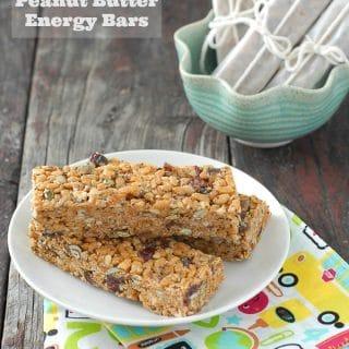 Peanut Butter Energy bars on blue plate