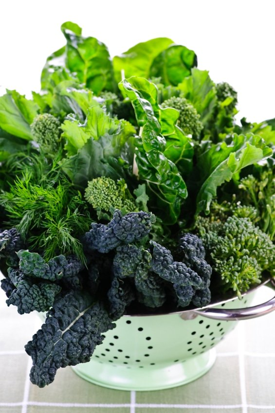 Dark green leafy vegetables in colander | BoulderLocavore.com