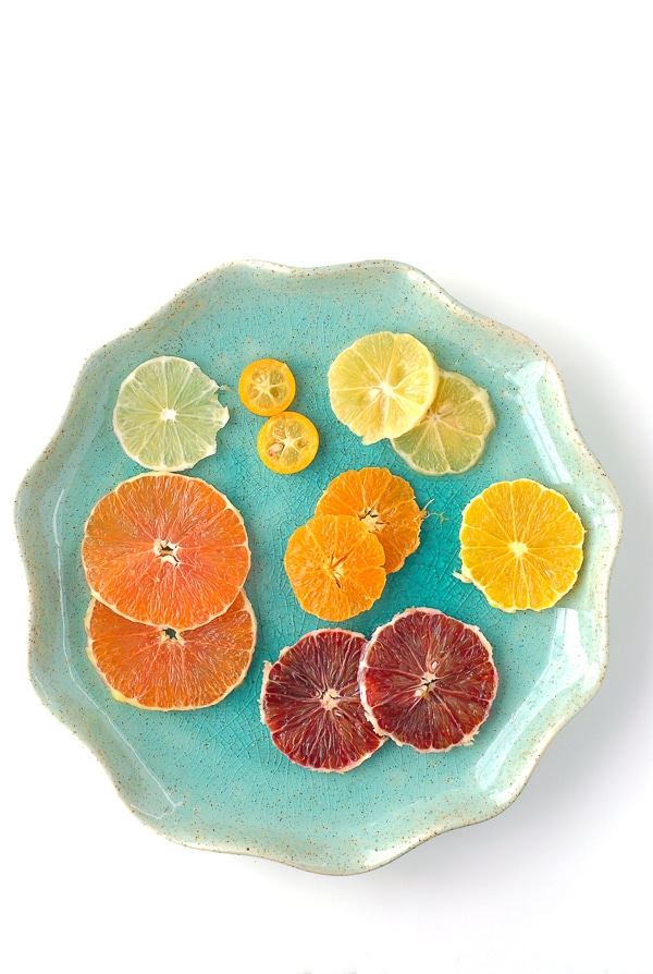 Blue plate of Winter Citrus slices - BoulderLocavore.com