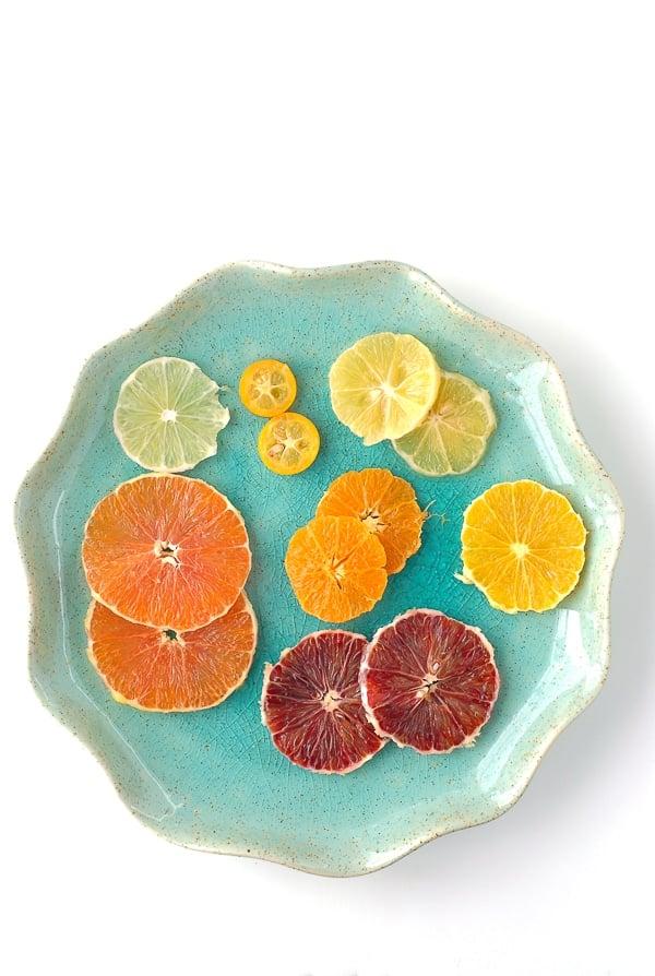 Blue plate of Winter Citrus slices