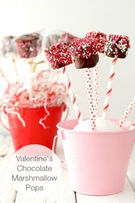 Valentine's Chocolate Marshmallow Pops in a pink bucket