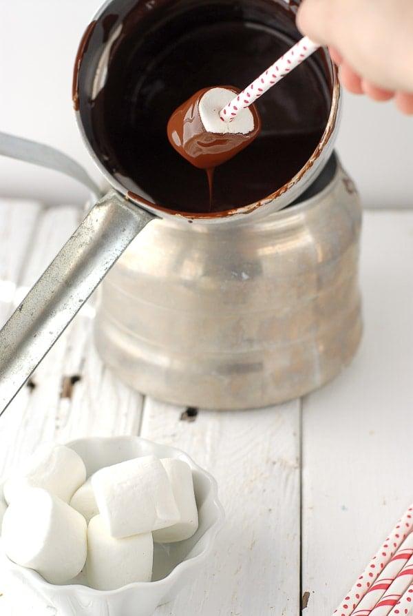 Chocolate Marshmallow Valentine's Pops- Dipping Marshmallows - BoulderLocavore.com