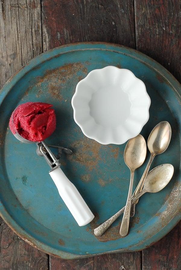 Ginger-Beet Sorbet on vintage tray - BoulderLocavore.com