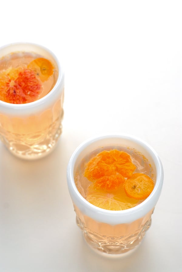 Glass of Winter Citrus White Sangria  - BoulderLocavore.com