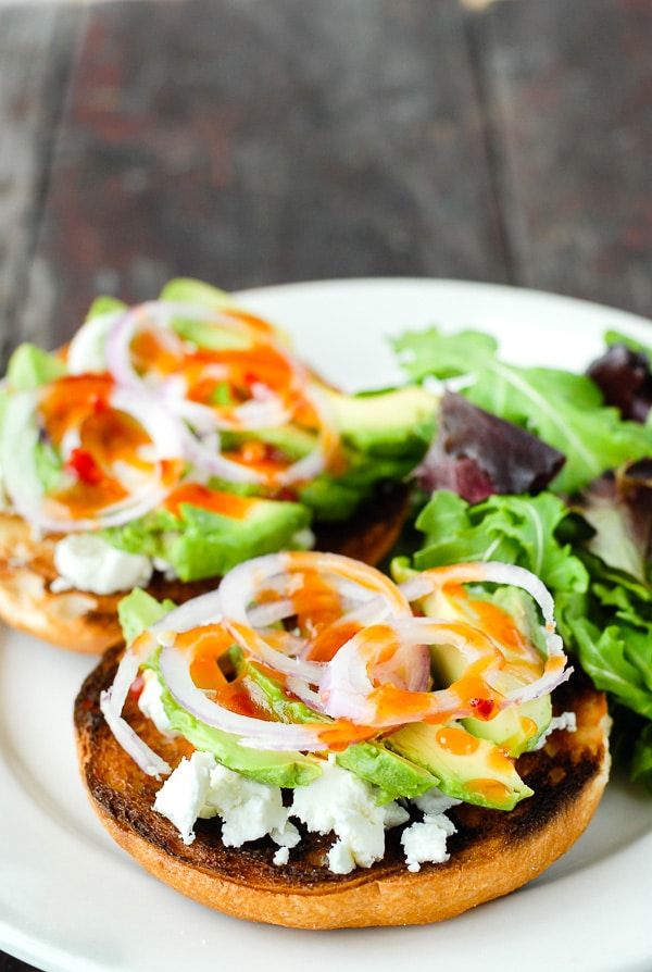 Sweet Chili Avocado Bagel Bruschetta. This tangy, sweet, creamy, crunchy bagel combination is irresistible. Gluten-free or regular bagels! BoulderLocavore.com