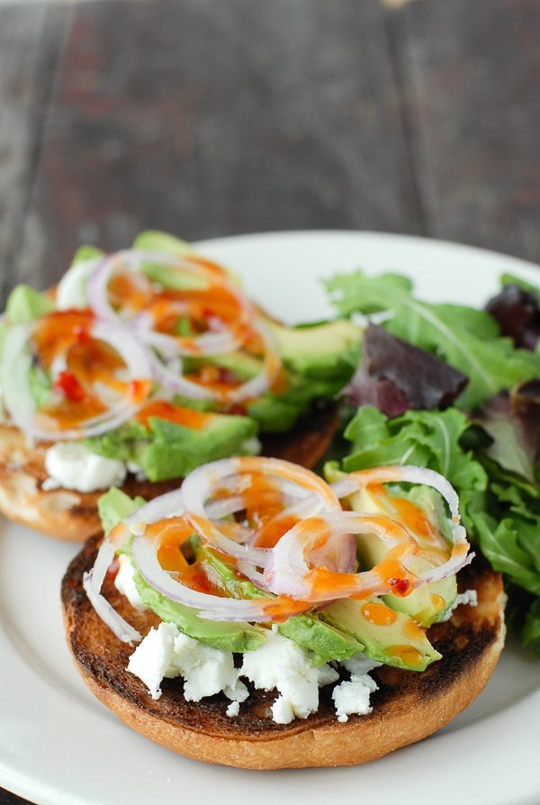 Sweet Chili Avocado Bagel Bruschetta - BoulderLocavore.com