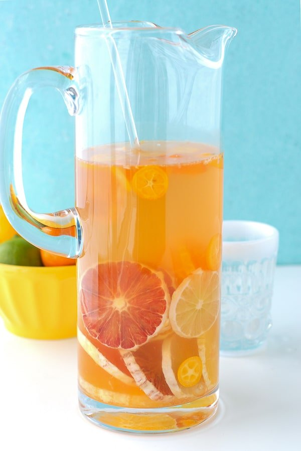 Winter Citrus White Sangria pitcher  - BoulderLocavore.com