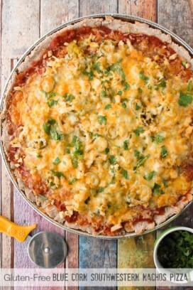 Gluten-Free Blue Corn Southwestern Nachos Pizza