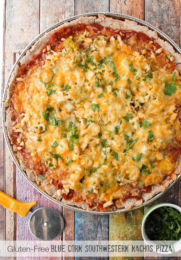 Gluten-Free Blue Corn Southwestern Nachos Pizza - BoulderLocavore.com