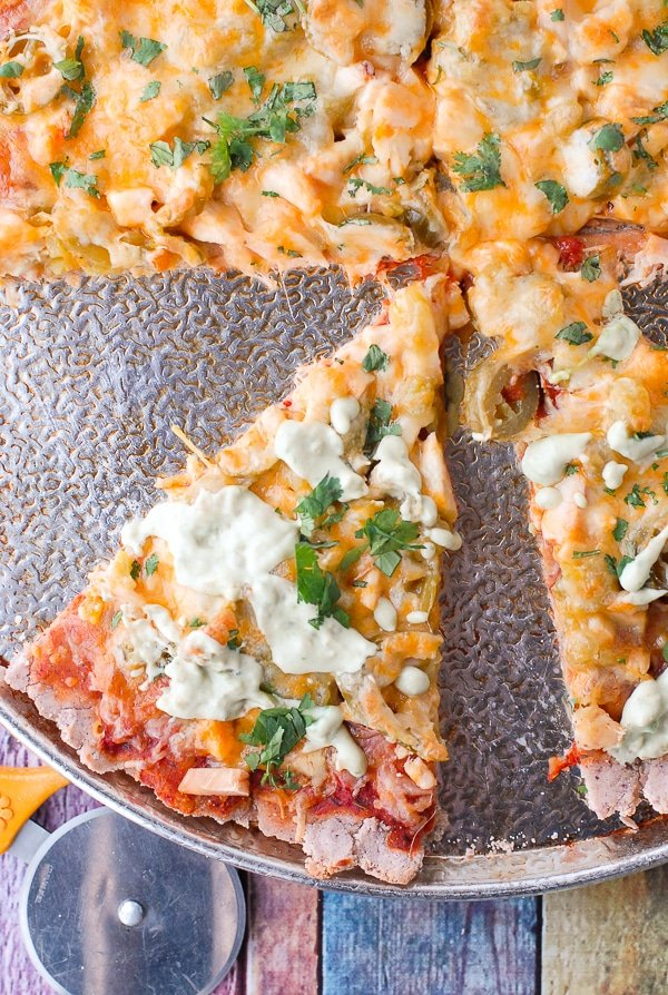 Gluten-Free Blue Corn Southwestern Nachos Pizza - slice - BoulderLocavore.com