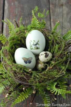 Tattooed Easter Eggs in Nest {tutorial}