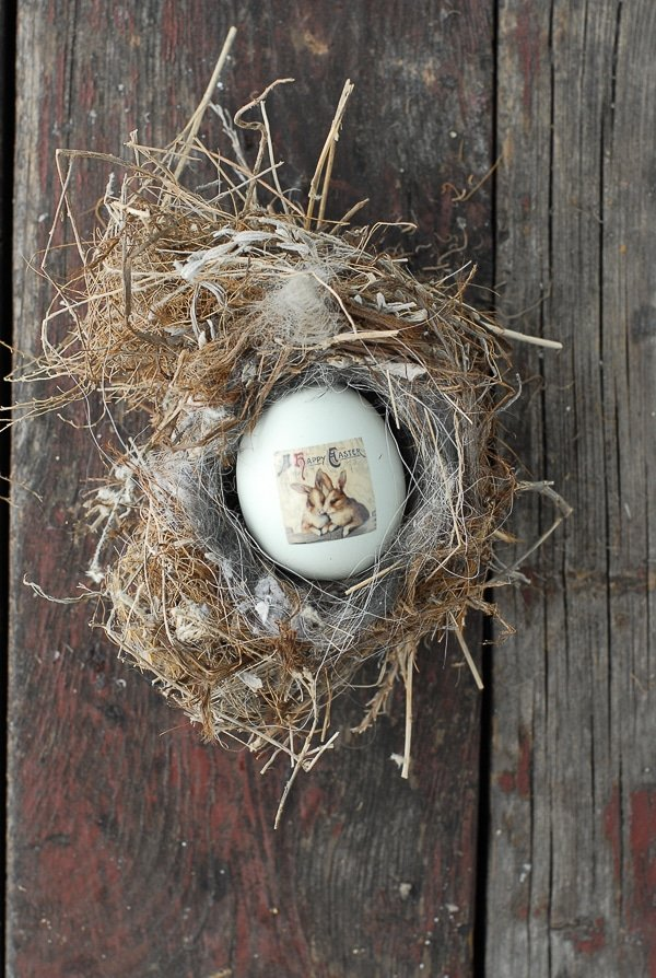 easter egg decorated with vintage image tattoo in birds nest