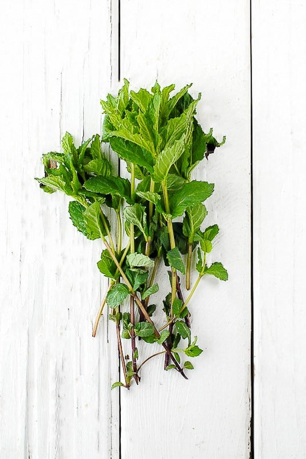 A fresh bundle of mint on vintage painted white wood fence planks BoulderLocavore.com