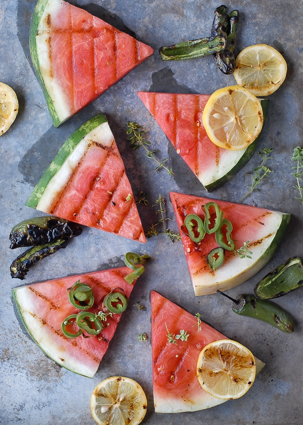 Grilled Watermelon, Smoked Salt and charred jalapenos - BoulderLocavore.com