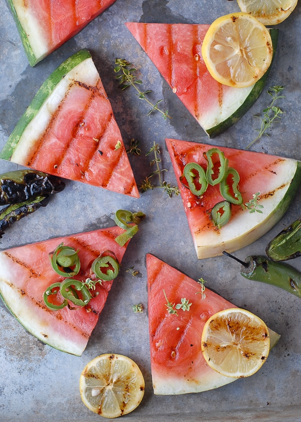 Grilled Watermelon, Smoked Salt and charred jalapenos with lemon slices