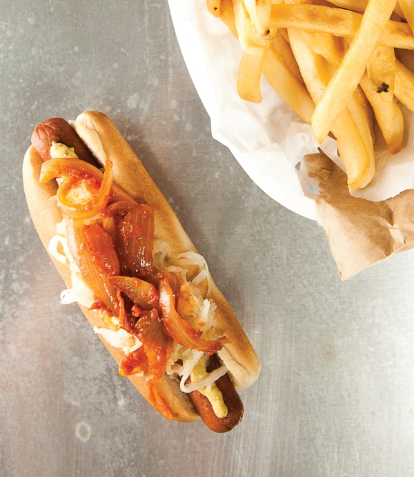 New York Style Hot Dog {Haute Dogs -Quirk Books} - BoulderLocavore.com