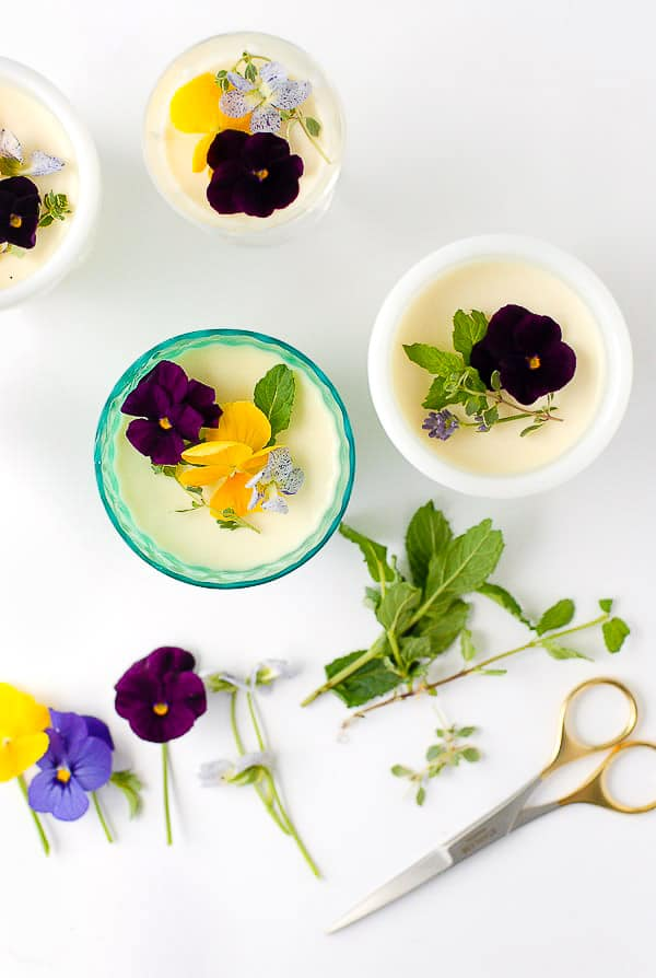 Rose-flavored panna cotta recipe with edible pansies, fresh mint and thyme sprigs and gold scissors BoulderLocavore.com