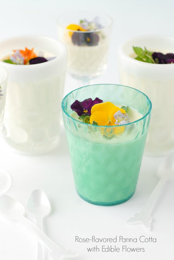 Rose-flavored Panna Cotta with Edible Flowers