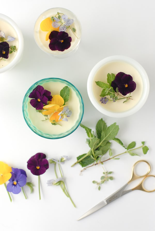 Rose-flavored Panna Cotta with Edible Flowers - BoulderLocavore.com