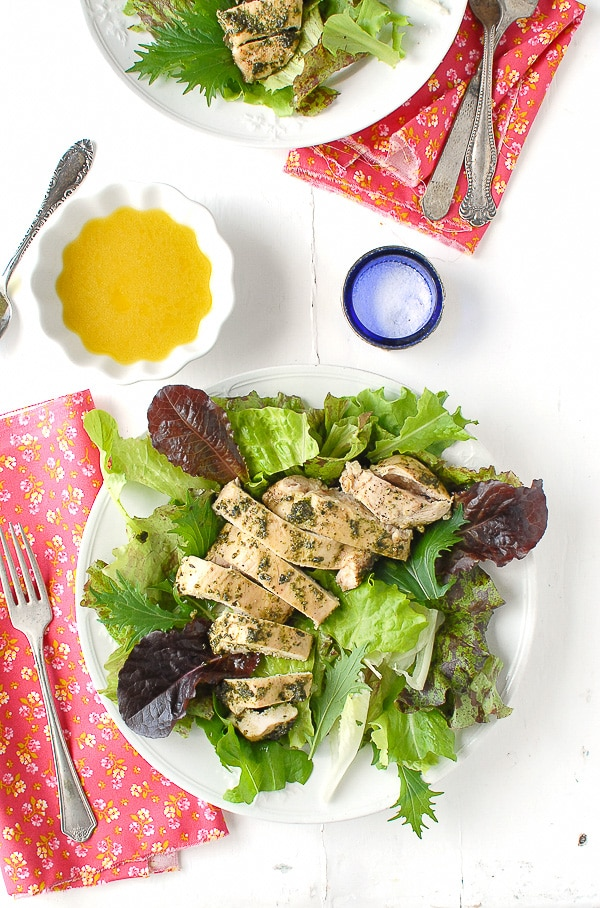 Tarragon Pesto Chicken Breast with dressed greens - BoulderLocavore.com