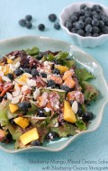 Blueberry-Mango Mixed Greens Salad with Blueberry-Guava Vinaigrette - BoulderLocavore.com