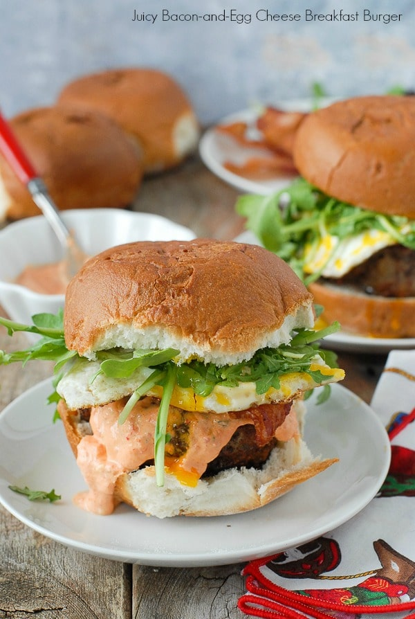 Juicy Bacon-and-Egg cheese Breakfast Burger - BoulderLocavore