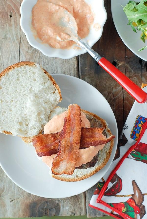 Juicy Bacon-and-Egg cheese Breakfast Burger - bacon- BoulderLocavore