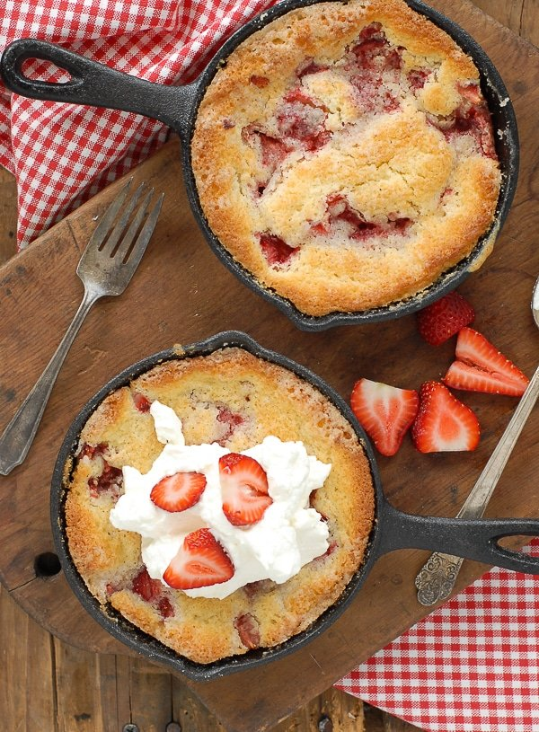 Miniature Strawberry Buttermilk Buckle with cream - BoulderLocavore