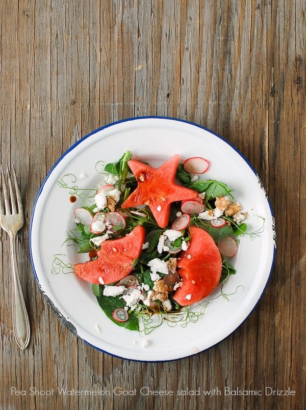 Pea Shoot Watermelon Goat Cheese Salad with Balsamic Drizzle - BoulderLocavore.com