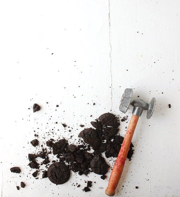 Broken Chocolate Cookies with a vintage meat mallet - BoulderLocavore.com